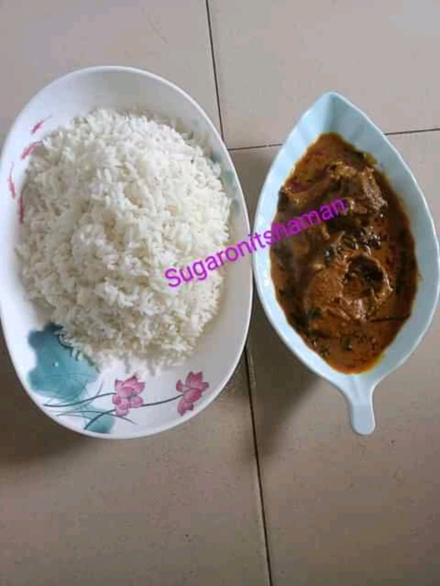 serve palm kernel soup with boiled rice