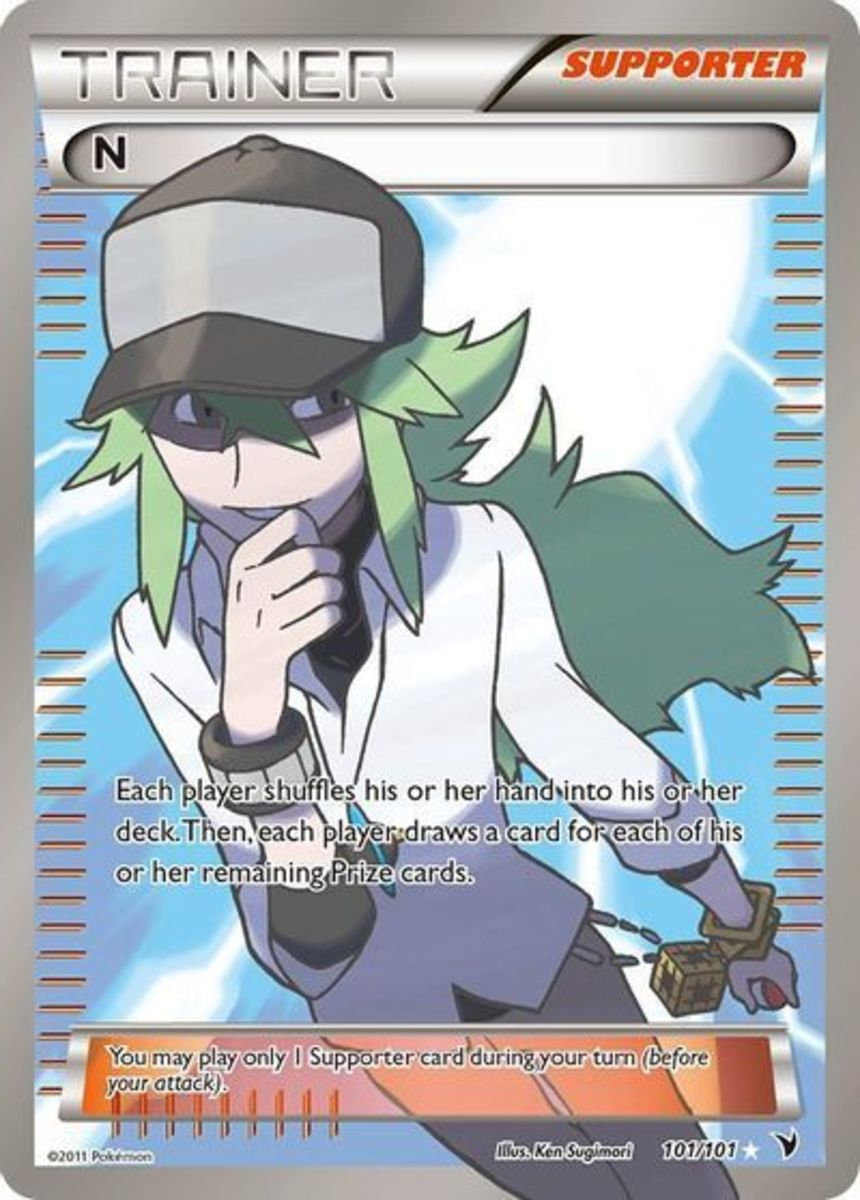 N is the first character from Pokémon to be featured in a full art illustration, released in 2011 during the Black & White expansion.
