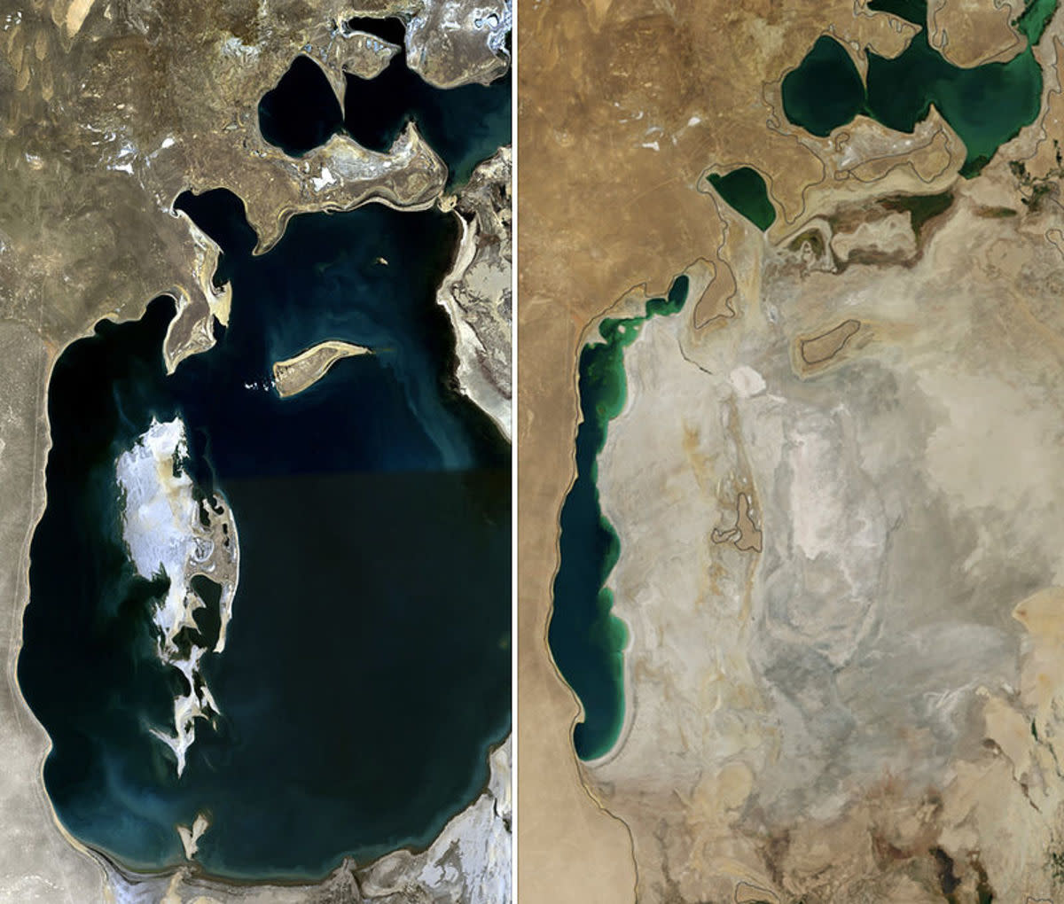 Aral Sea before (left) and after water diversion