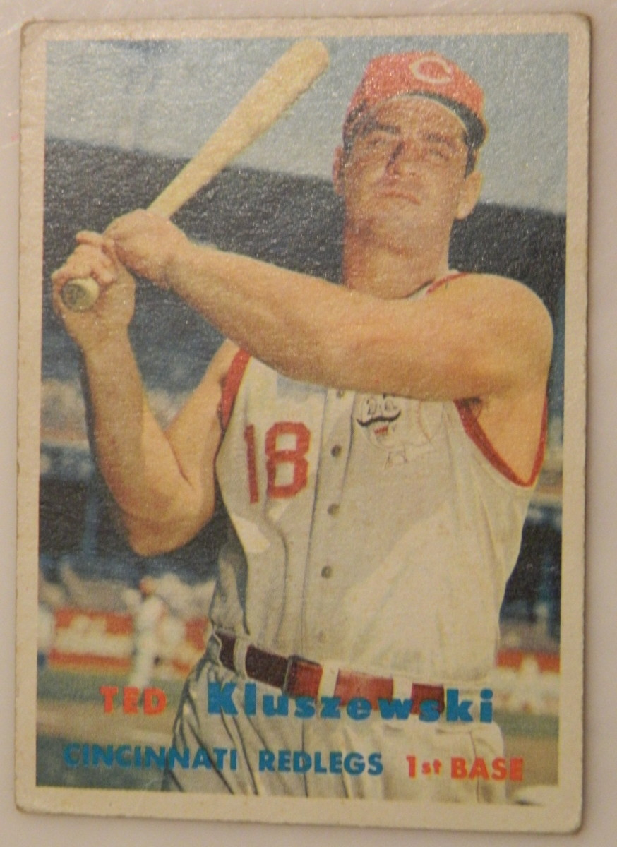 The iconic 1957 Ted Kluszewski showing the Cincinnati Reds slugger with the sleeves cut off his jersey. Santa kept this one for himself!