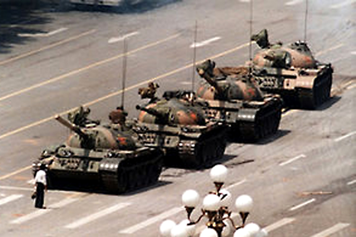 1989. A lone civilian defies the tanks during the Chinese repression of Tiananmen Square freedom of speech protests. It is still not known whether this peaceful demonstrator was executed by the authorities