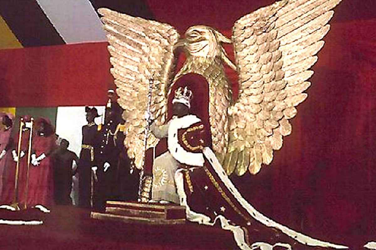 1977. Jean-Bédel Bokassa of the third world Central African Republic, crowned himself  'Emperor'  with enough extravagence to make the Queen of England look poverty stricken. He was overthrown two years later.