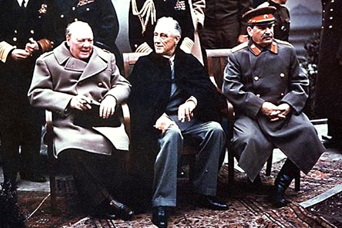 1945. Winston Churchill, Franklin D Roosevelt and Joseph Stalin meet at Yalta. The seeds of 40 years of 'cold war' and dictatorship throughout Eastern Europe were sown at the end of the Second World War