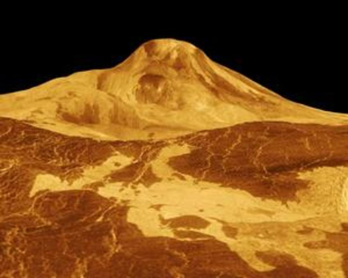 One of the many volcanoes on the planet Venus. This is Maat Mons, photographed by Magellan