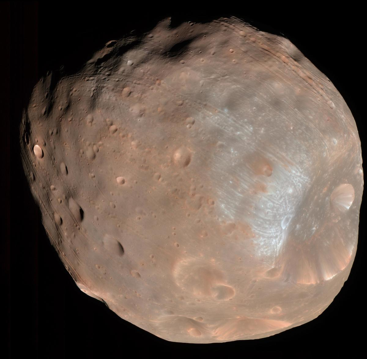 Phobos, a tiny moon of Mars, is doomed to destruction (Mars Reconnaissance Orbiter)
