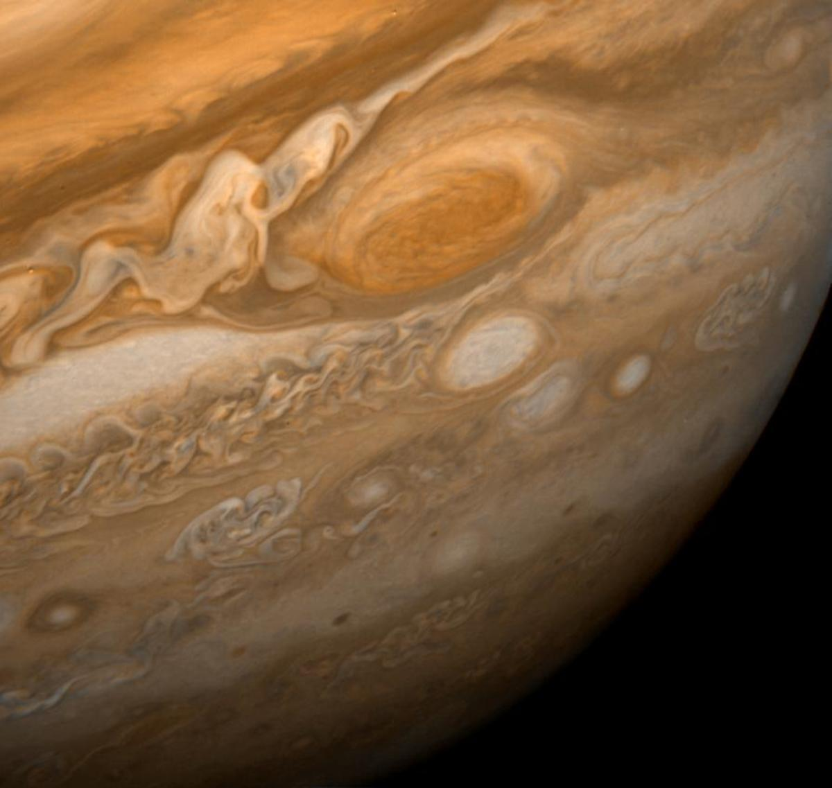 The swirling multicoloured clouds of Jupiter, photographed by the Voyager mission