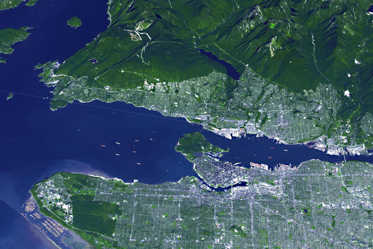 The City of Vancouver as seen from space. This would appear to be a sure sign that planet Earth is biologically active! This photograph was taken by the Earth Observing System