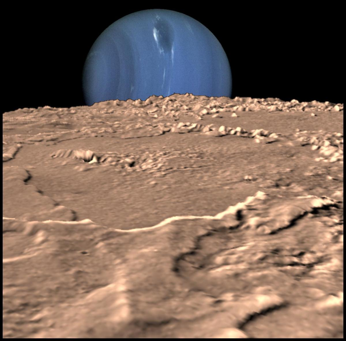 Voyager's image of Triton, with the ominous blue globe of Neptune behind it - the planet which will eventually seal it's fate, as Triton's orbit decays