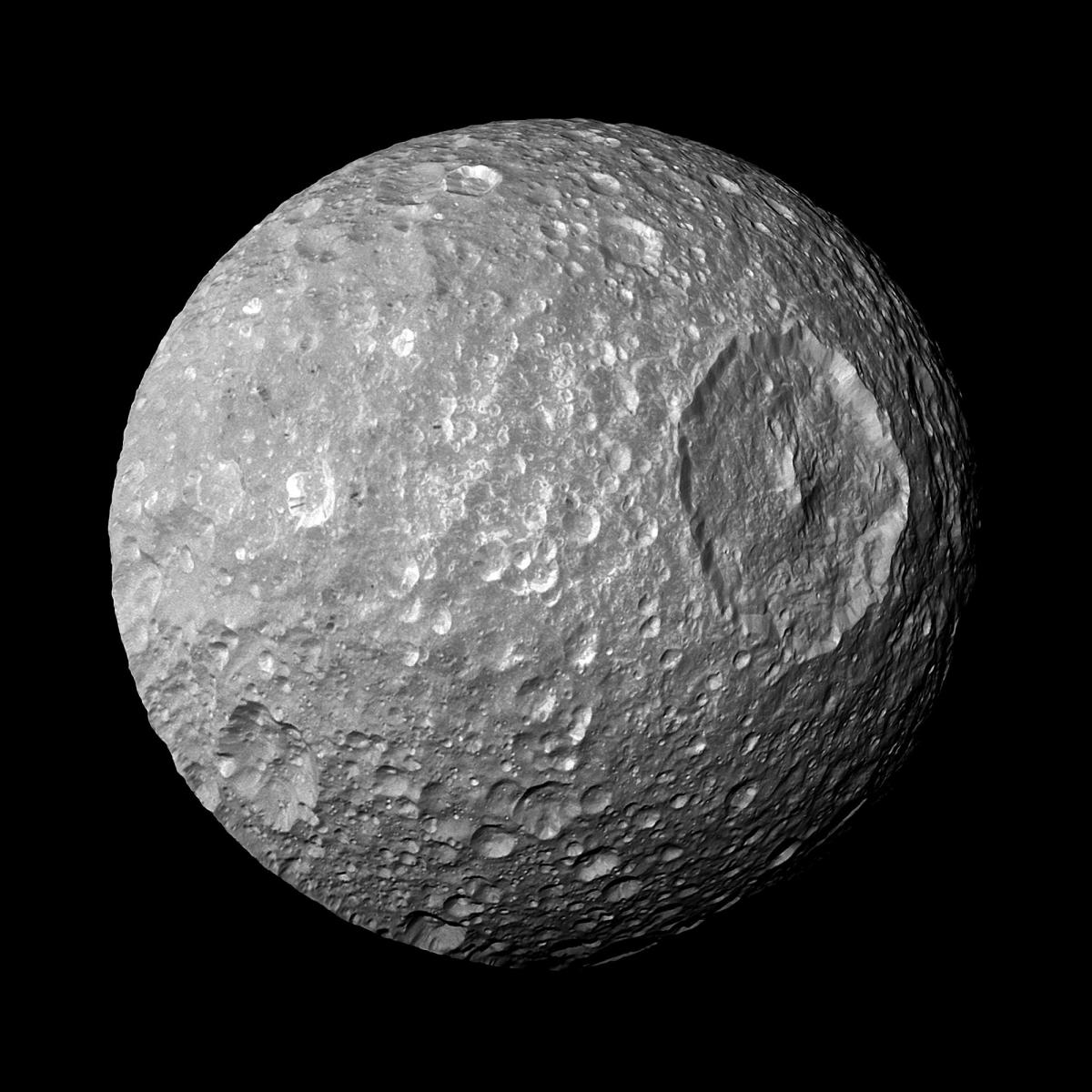 The huge Herschel crater on Mimas photographed by Cassini