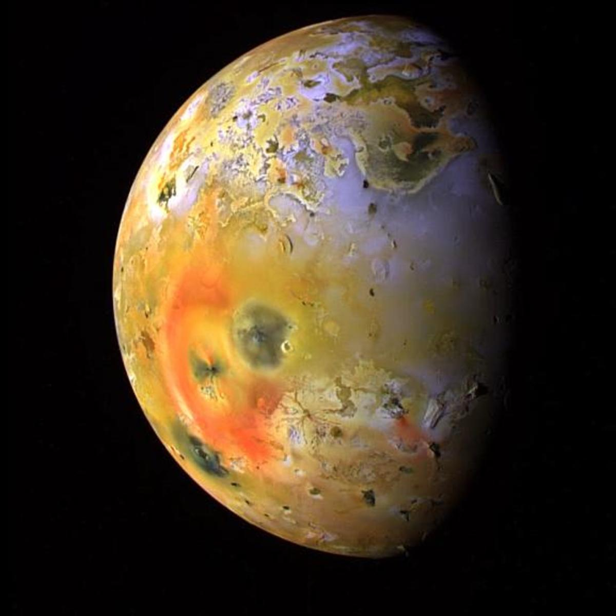 A world in turmoil - nowhere in the Solar System is more geologically active than Jupiter's innermost moon, Io (Galileo image)