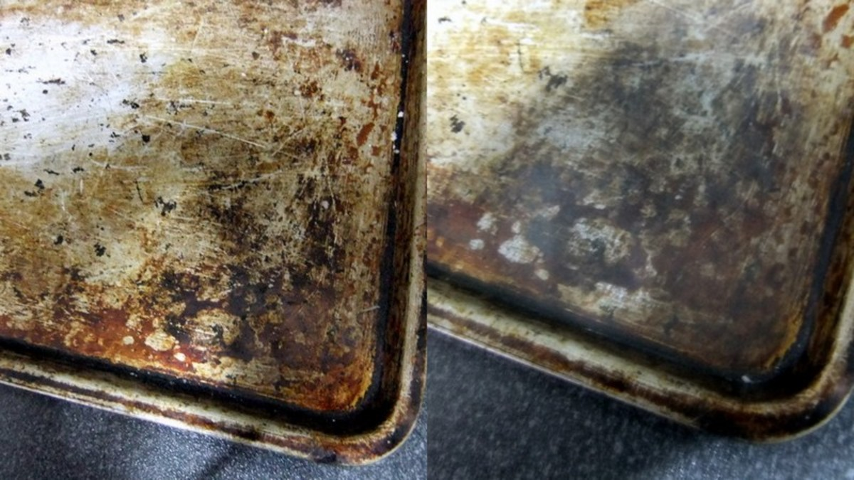 Using aluminum foil to remove grease - before and after photos