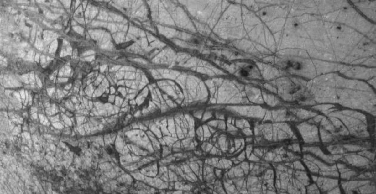 The much cracked surface of Europa, which may result from underwater heating of the surface ice (this is a black and white image from the Galileo mission)