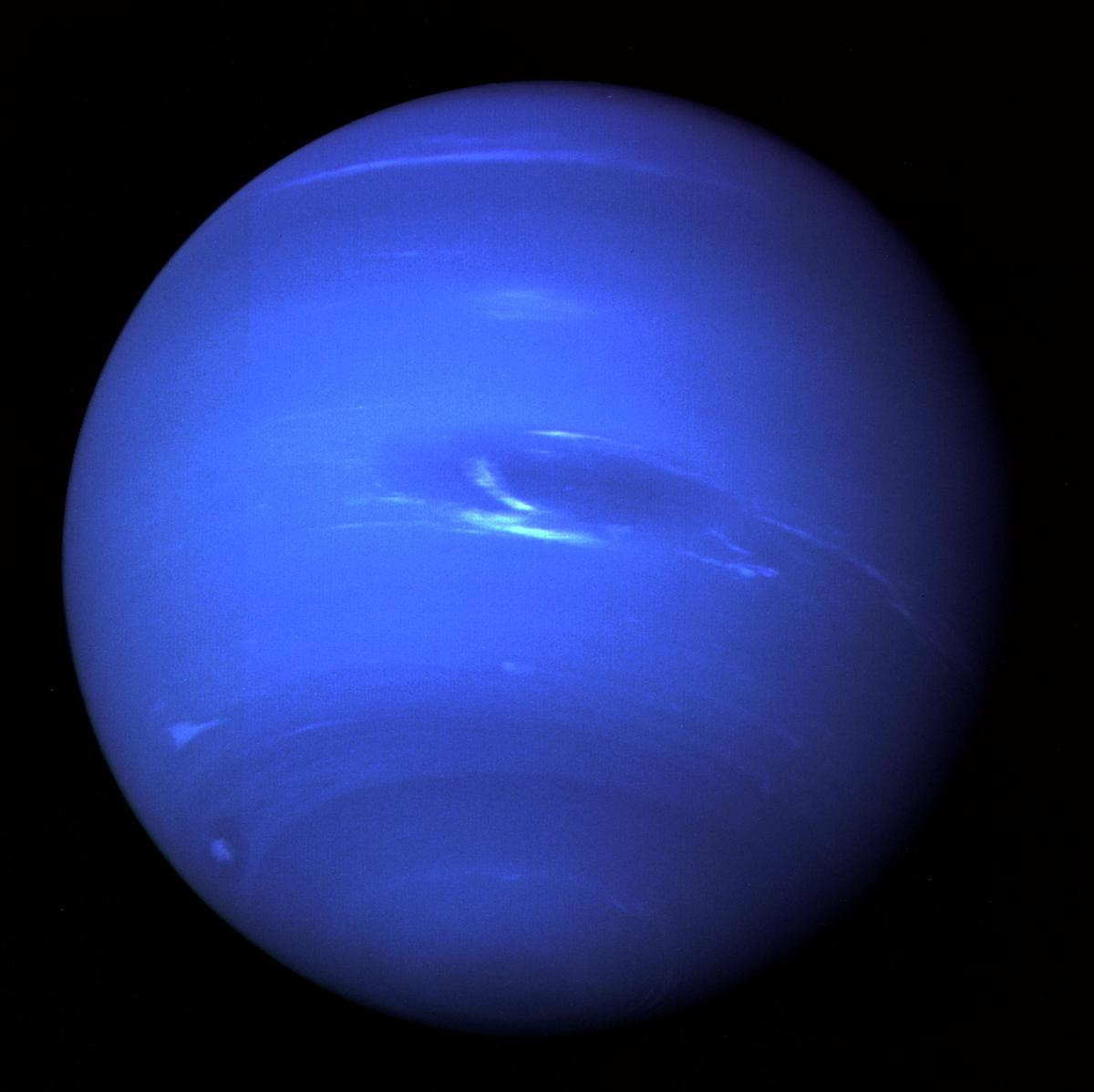 The giant blue gas planet Neptune, photographed by the Voyager mission