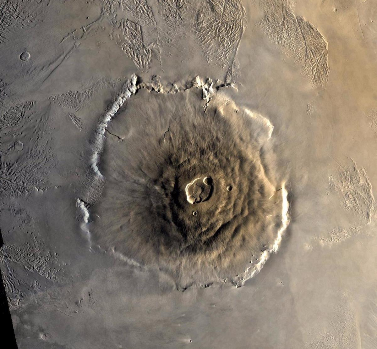 Olympus Mons, the gigantic Martian volcano, photographed by the Viking mission