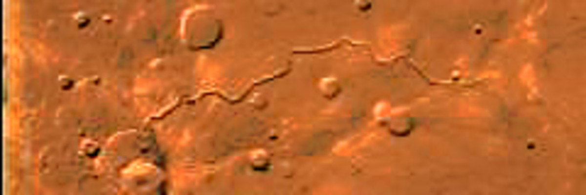Scamander Vallis, a meandering Martian valley in which it is believed water once flowed. (An image from the Viking Orbiter)