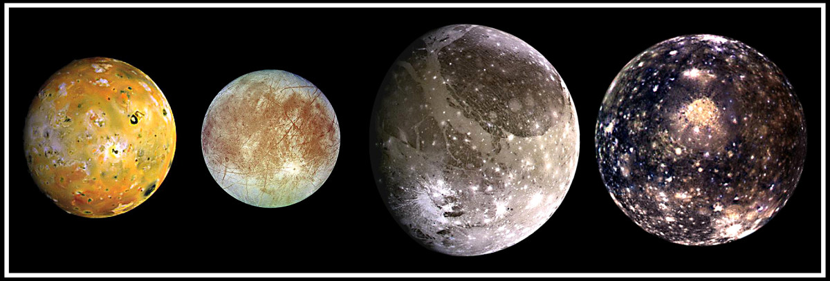 The four large moons of Jupiter - Io, Europa, Ganymede and Callisto