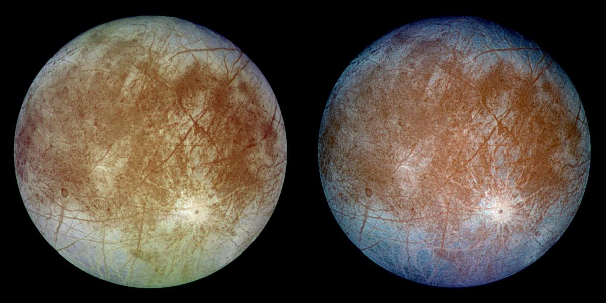 Two views of Europa (colours are enhanced)