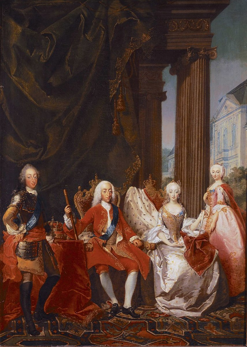 King Christian VI and Queen Sophie Magdalene, Crown Prince Frederick and Crown Princess Louise of Denmark and Norway. Tuscher, 1744.
