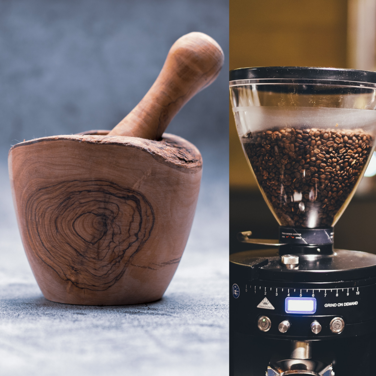The mortar and pestle and electric coffee grinder are two great tools for grinding or crushing your clay.