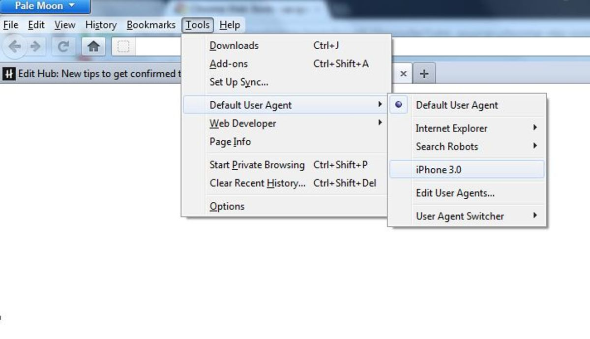 Selecting user agent as iPhone3 in Firefox addon Path is  Tools- Default User Agent- iPhone 3