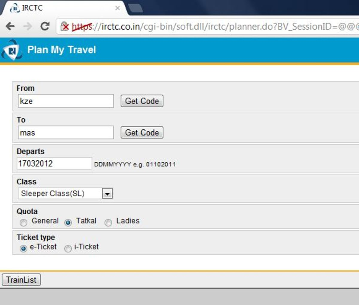 Mobile site booking page