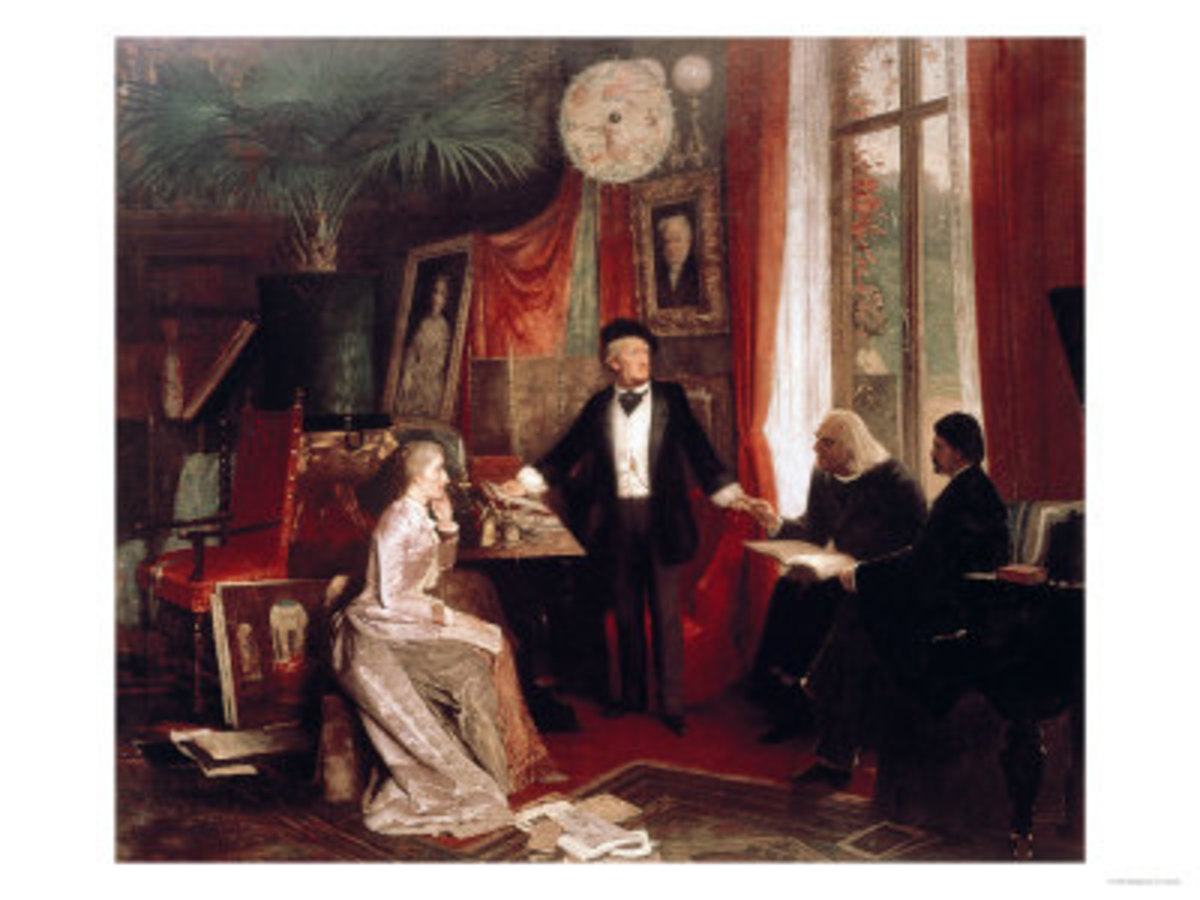 Richard Wagner with Franz Liszt and Liszt's Daughter Cosima