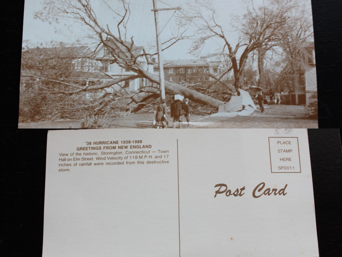 The front and back of a vintage postcard i found in a used book store in Rhode Island.  It's a picture from Stonington,Ct after the storm and gives some stats