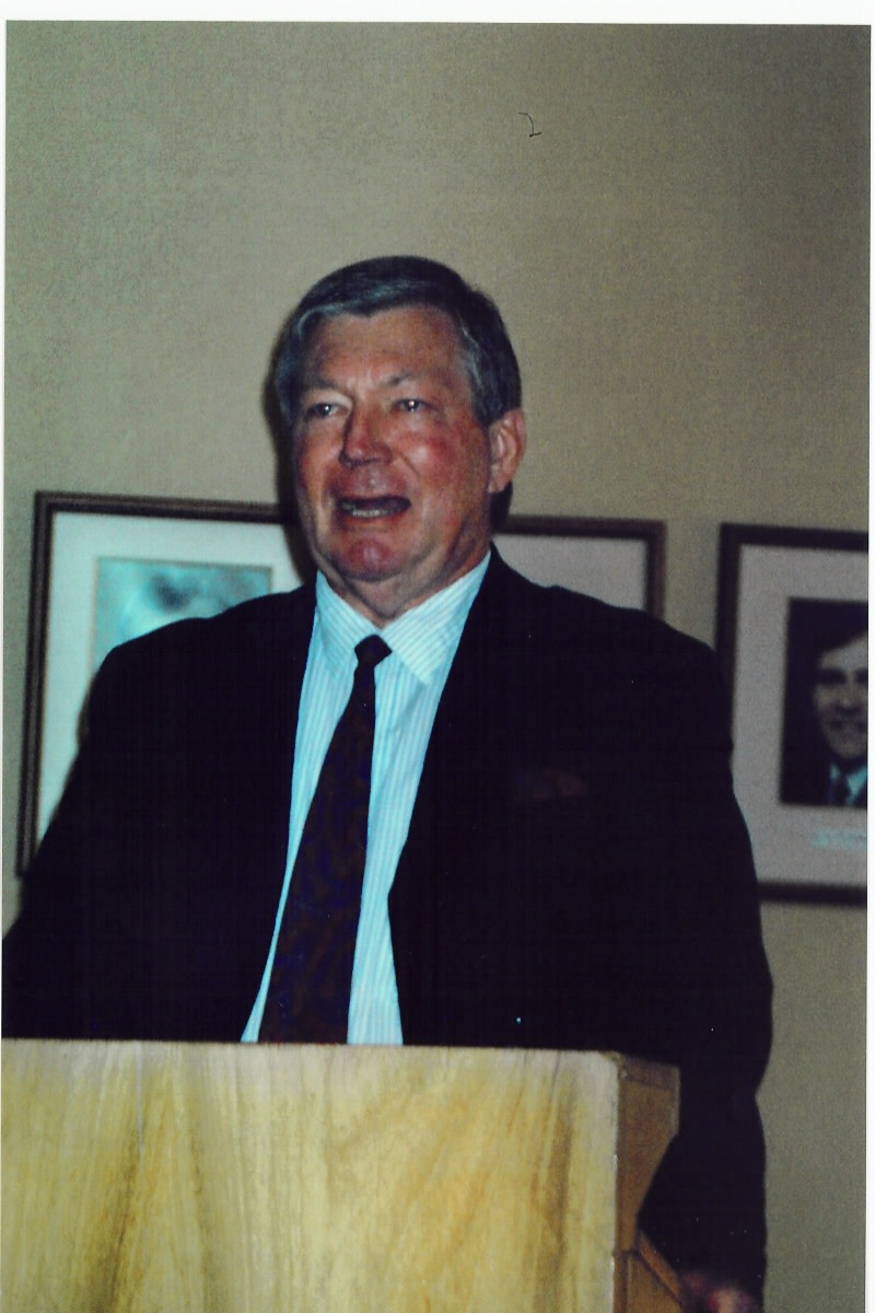 Johan Naud speaking at the launch of Colleen Ryan's updated biography of Beyers. 18 August 2005. The launch was held in a meeting room of the Aasvoelkop Church. Photo Tony McGregor