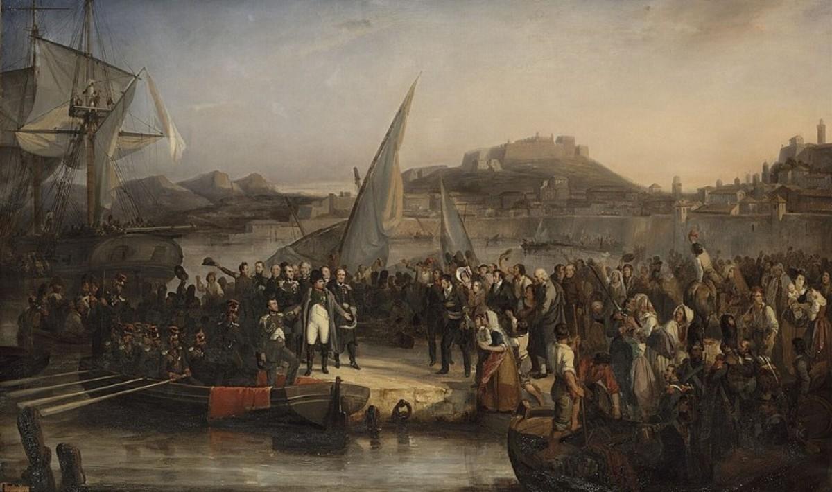 Napoleon leaving Elba on 26 February 1815, by Joseph Beaume (1836)