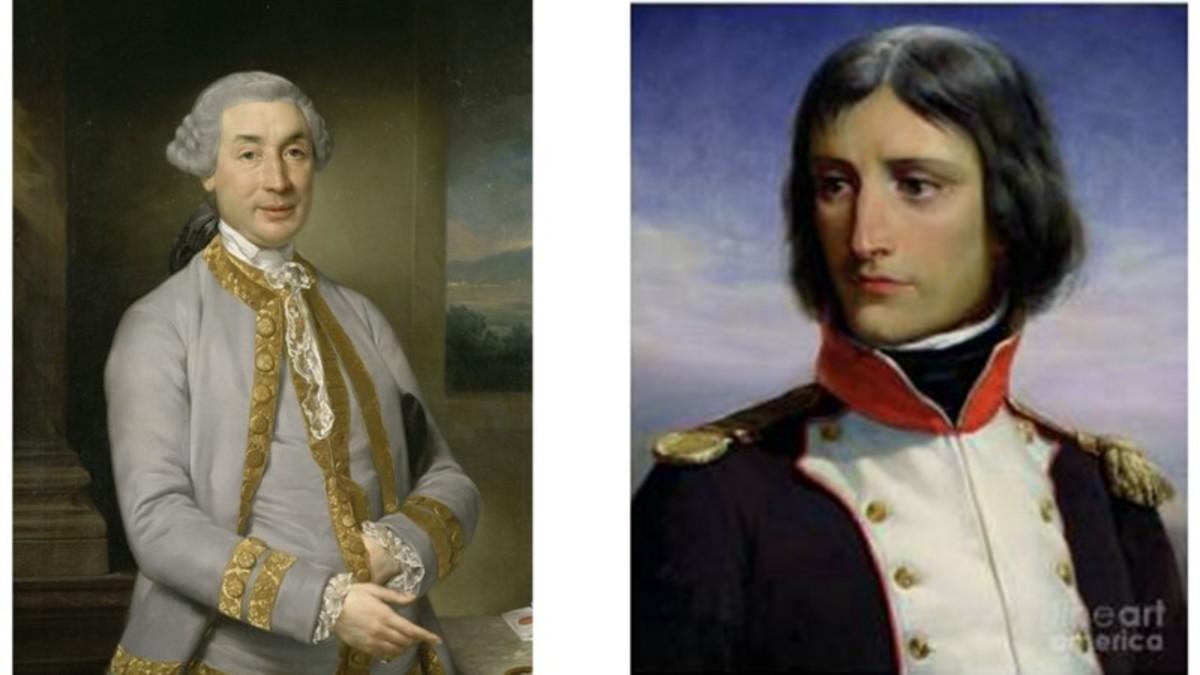 On the left Napoleon's father, Carlo Buonaparte, was Corsica's representative to the court of Louis XVI.- On the right Napoleon Bonaparte