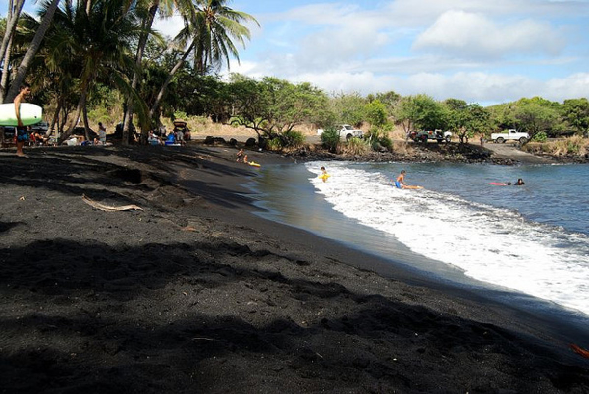 Punalu'u Black Sand Beach in Hawaii.