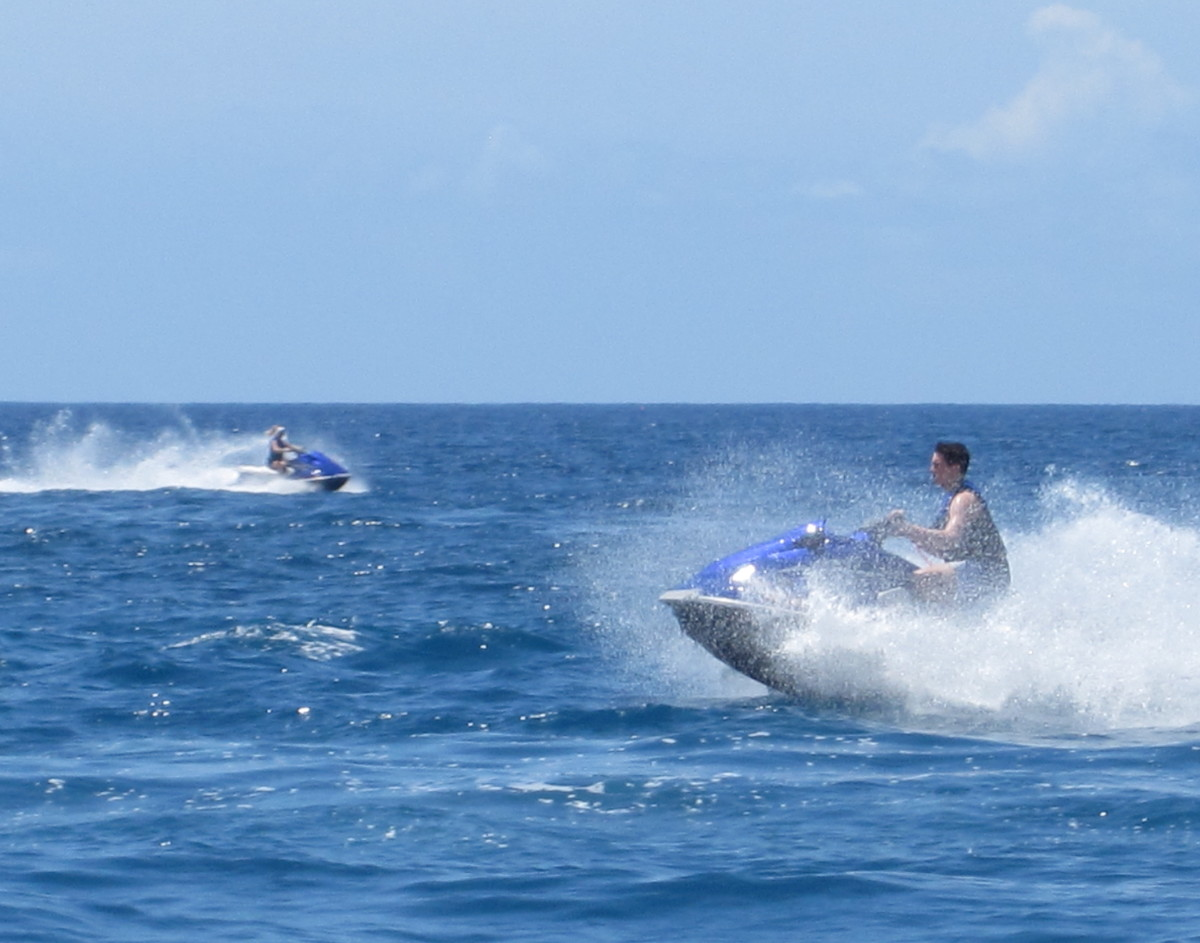 Jet skiing in Kona, Hawaii.