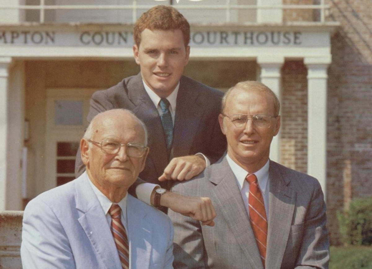 """Three generations in front of the Hampton County Courthouse in South Carolina. Randolph """"Buster"""" Murdaugh, Jr., (left), Randolph IV (center), Randolph III (right.) Photo courtesy of Bluffton Today."""