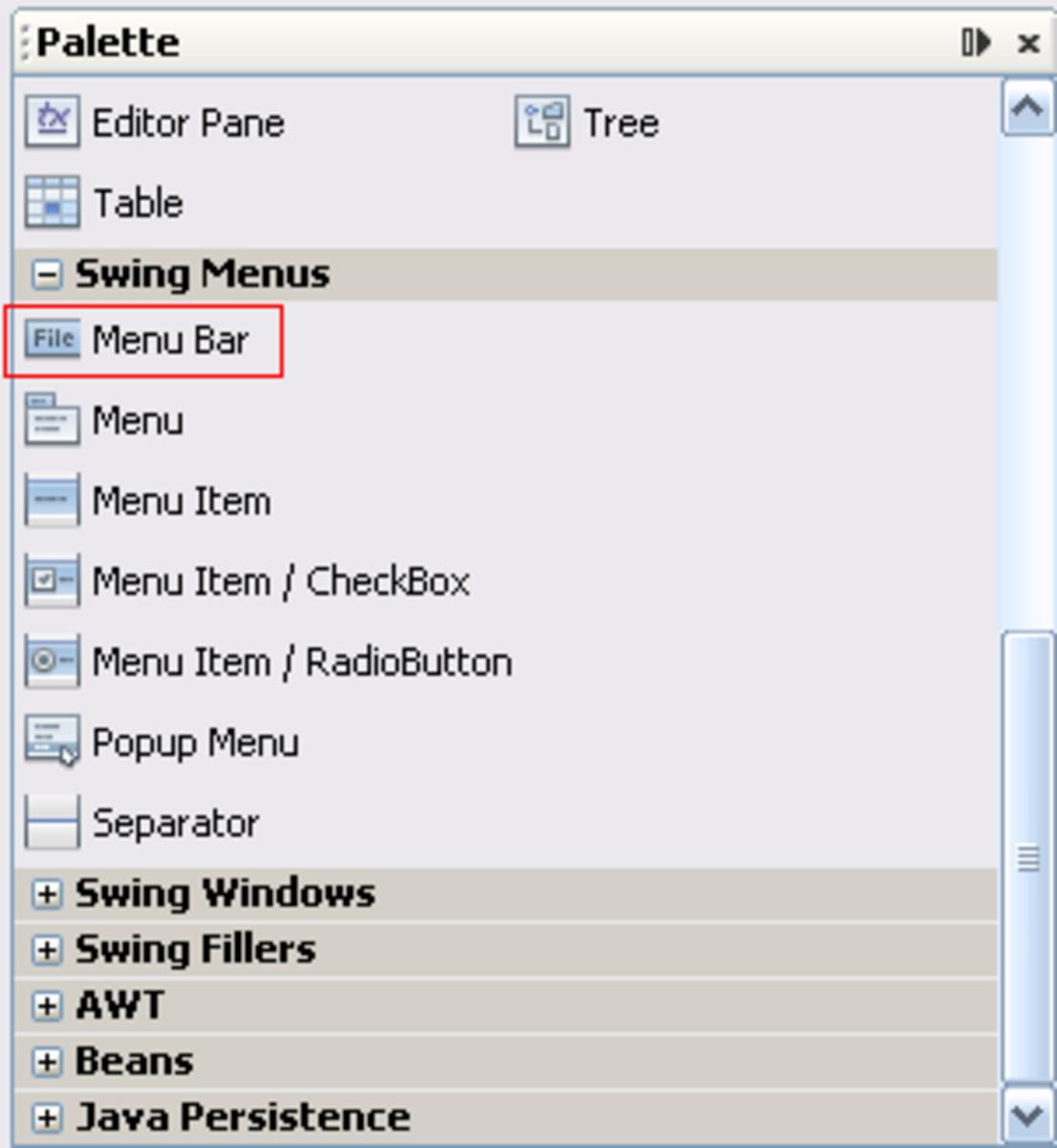 How to create menu in Java