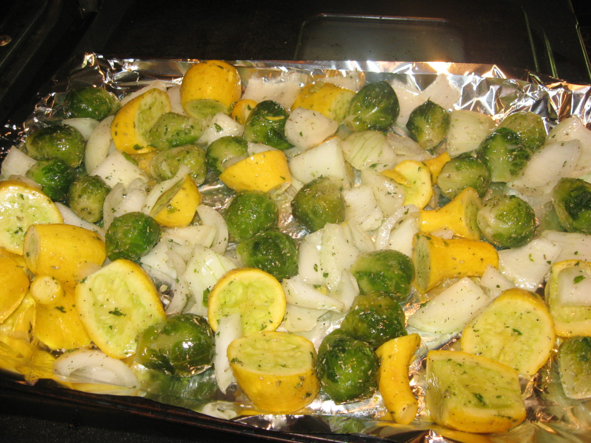 Spread veggies in a single layer on a shallow baking pan.