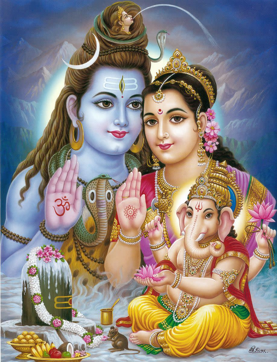 Ganesha's life symbolizes that Success in Life is a result of blessings of parents .... Ganesha had won the contest of going round the world with his elder brother Lord Kartikeya by revolving thrice  around his parents, whom he called His World ....