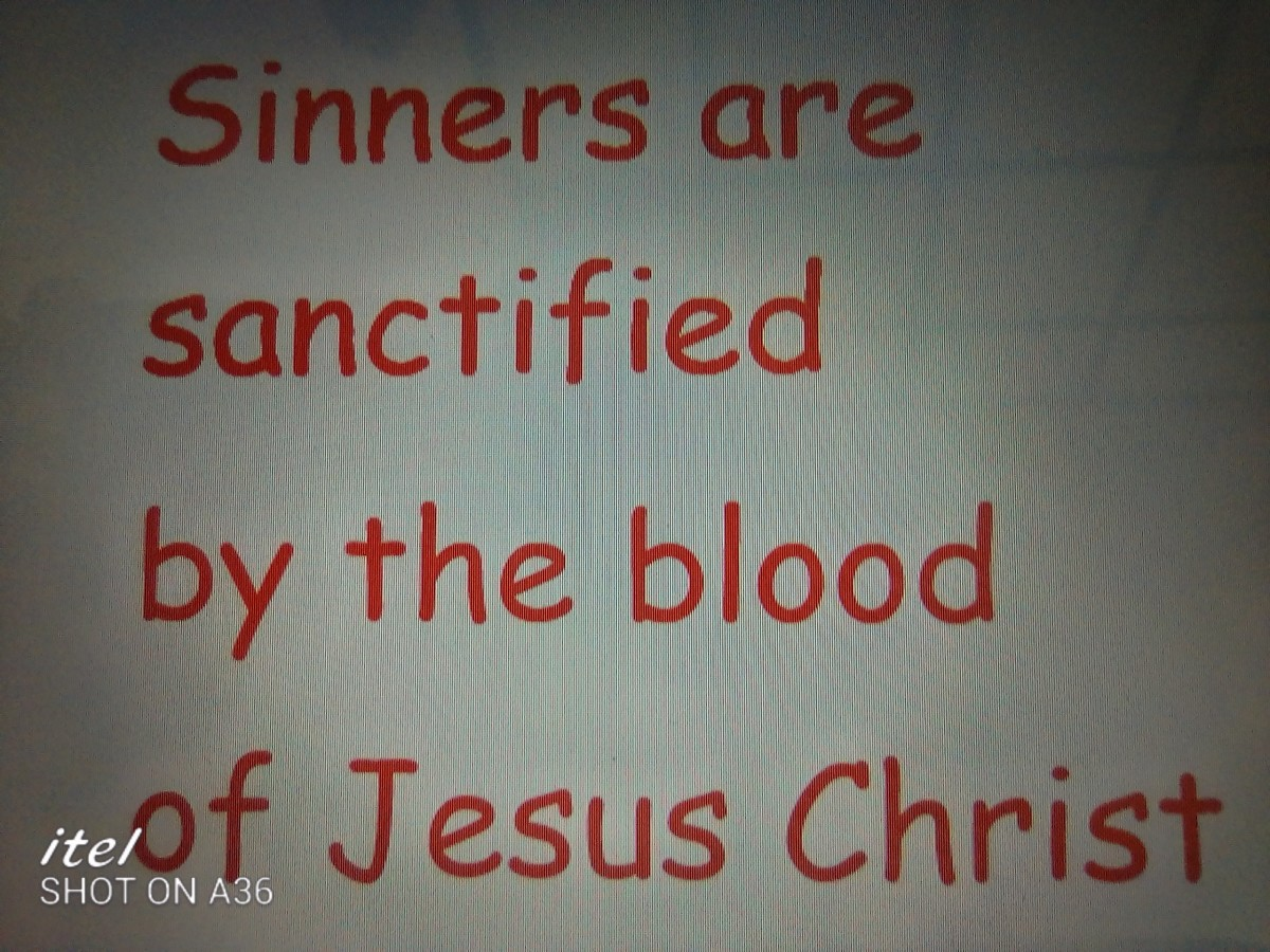 Believers are sanctified by the blood of Jesus Christ.