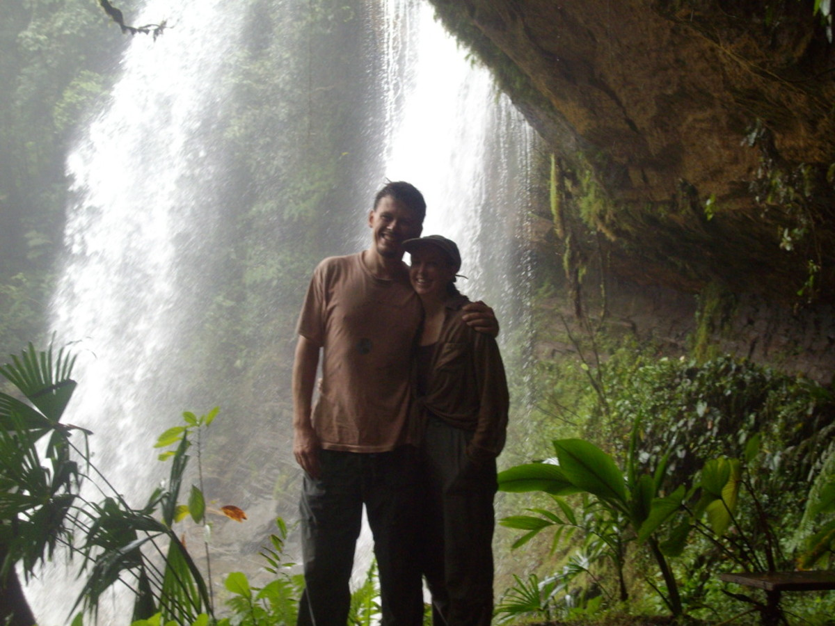 Inside the cave of Diamante Waterfalls on our 20th wedding anniversary.