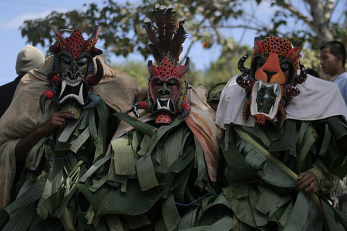 Boruca festival, note the intricately carved Borucan masks