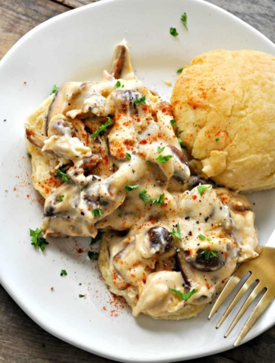 Vegan Biscuits and Shiitake Mushroom Gravy