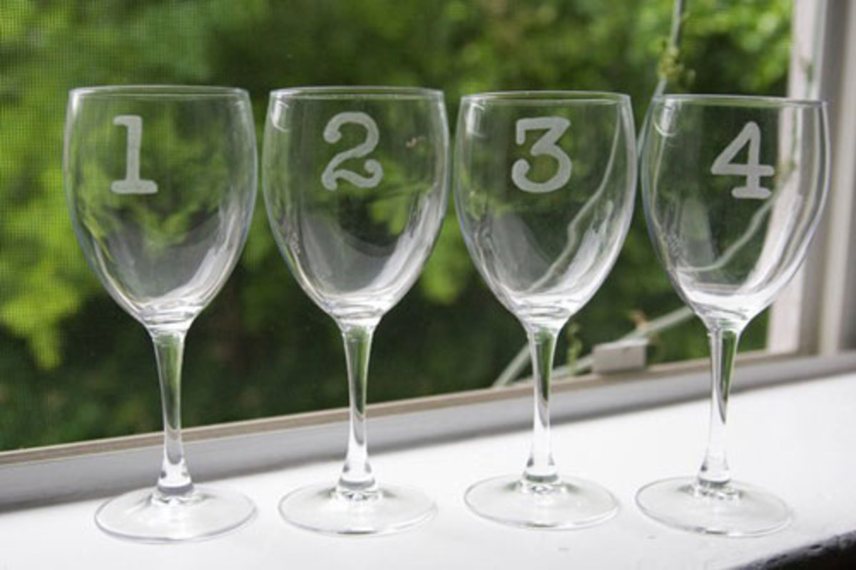 Inexpensive glasses can be purchased at many stores. Depending on the design is etching is very easy.