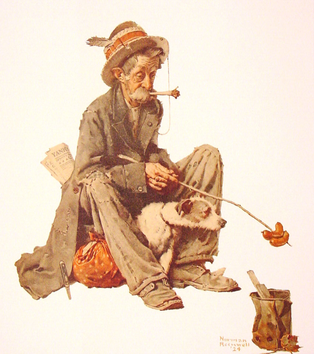 Even a hobo has o eat. It may not be glamorous, but he suvices.