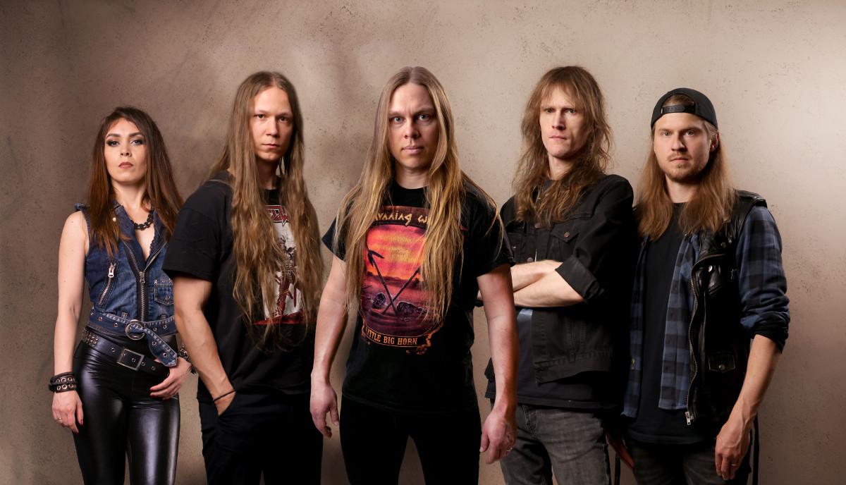 "Blazon Stone, L-R: Marta Gabriel (bass), Emil Westin (guitars), Matias Palm (vox), Cederick ""Ced"" Forsberg (guitars), Kalle Lofgren (drums)"