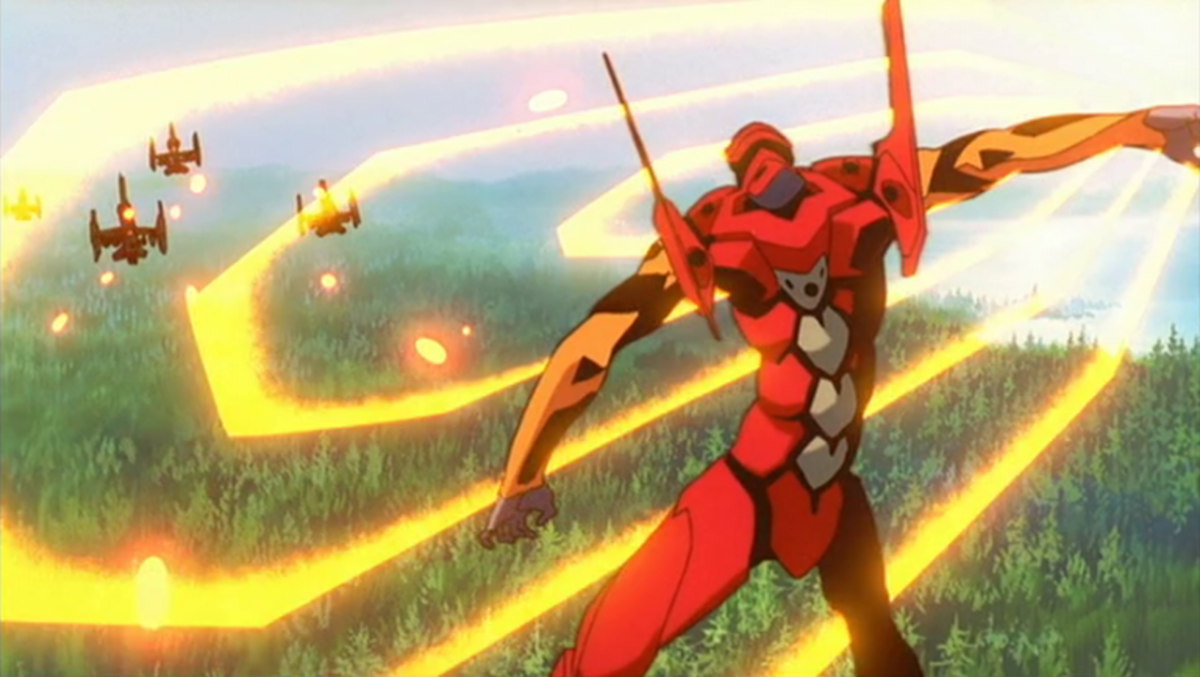 Asuka employing the A.T. Field of her Unit as a weapon.