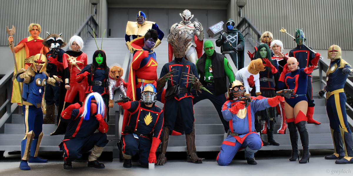 Picture features most of the Guardian of Galaxy crew with a few other superheros thrown in for good measure