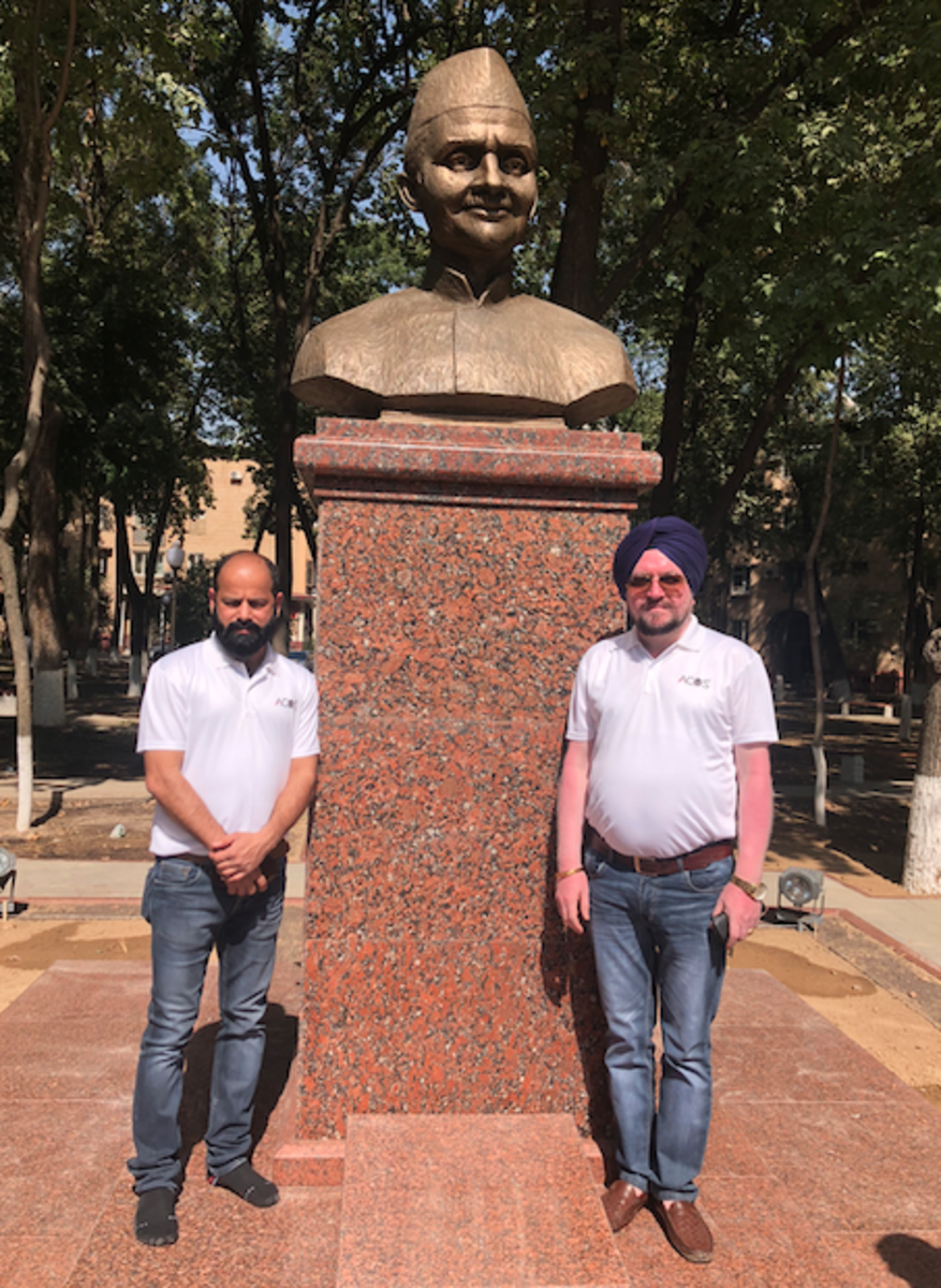 with Mr Tyagi. In background is statue of Sh Lal Bahadhur Shastri, Ex PM, India