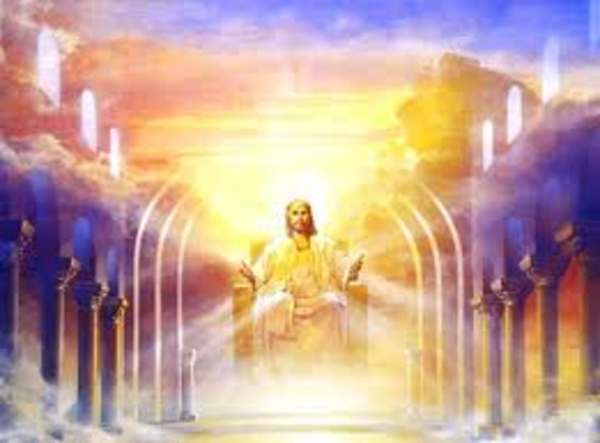 Imaginary photo of Jesus Christ in heaven sitting on his throne waiting for future things to come, when he is supposed to come riding a while horse at the head of his armies of angels.