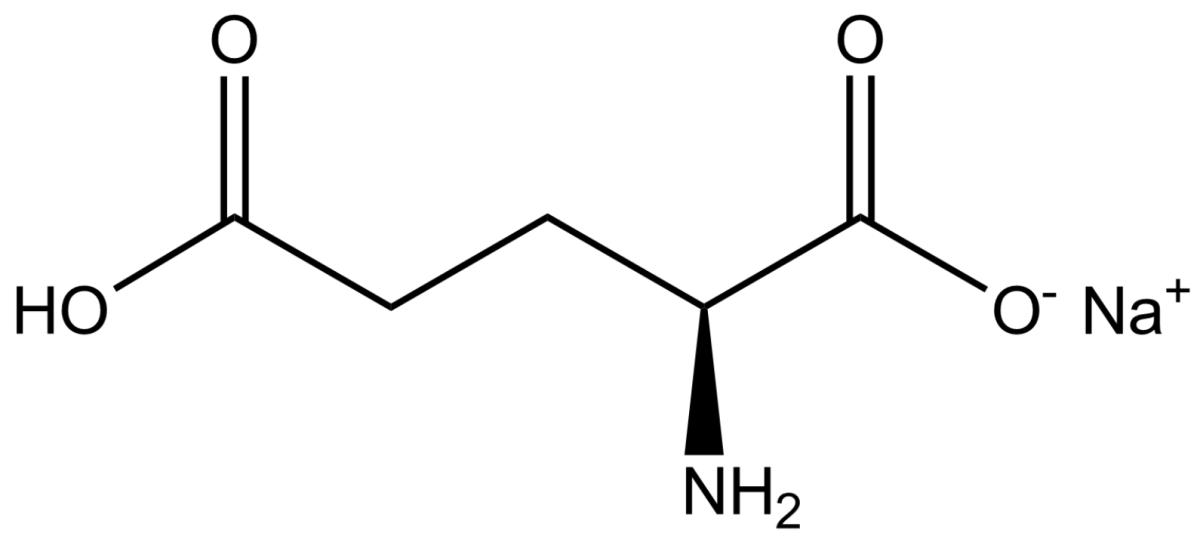 The chemical structure of Monosodium glutamate (MSG).