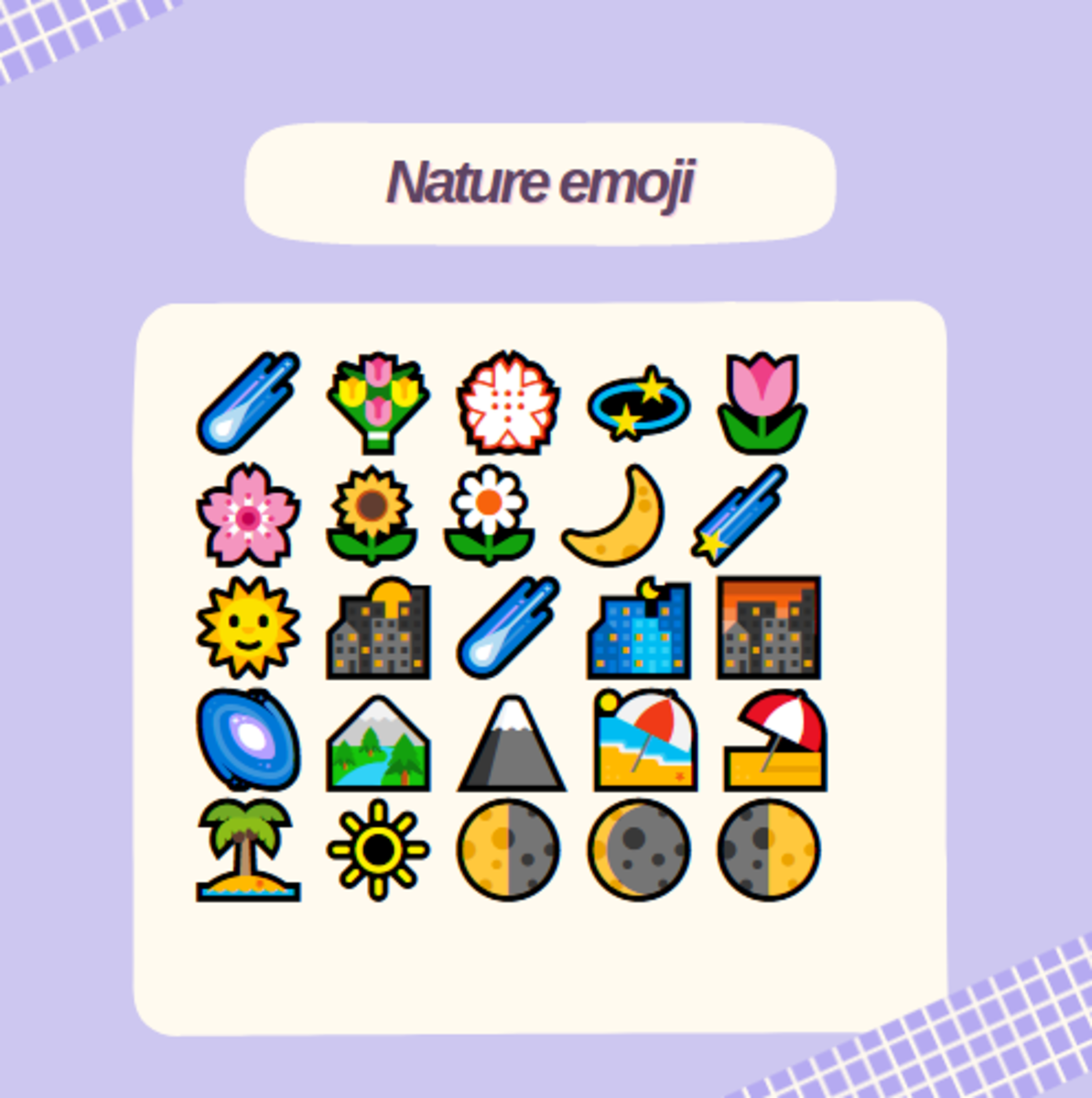 Here are some cool nature emoji you could incorporate in your status!