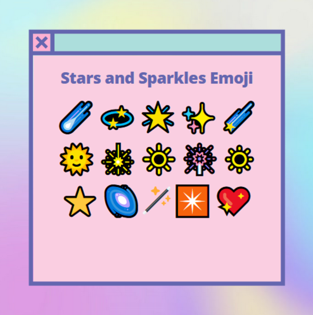 Here are some pretty emoji examples of stars and sparkles!